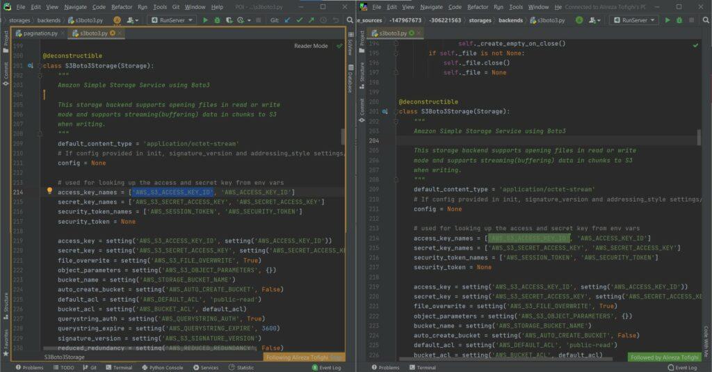 یک نمونه از اجرای Code with Me